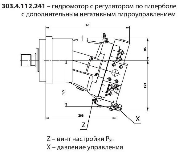 303.3.112.241 гидромотор с регулятором по гиперболе с дополнительным негативным гидроуправлением